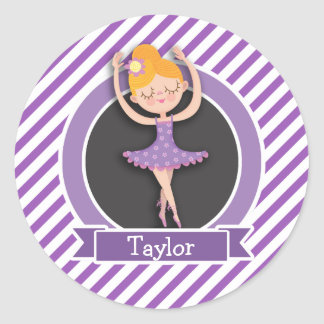 Girl Ballet Dancer; Ballerina; Purple & White Classic Round Sticker
