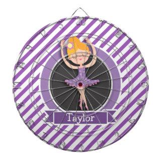 Girl Ballet Dancer; Ballerina; Purple & White Dartboard