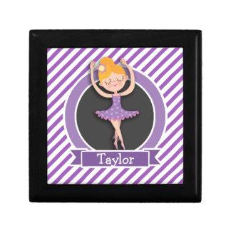 Girl Ballet Dancer; Ballerina; Purple & White Keepsake Boxes