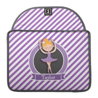 Girl Ballet Dancer; Ballerina; Purple & White MacBook Pro Sleeve