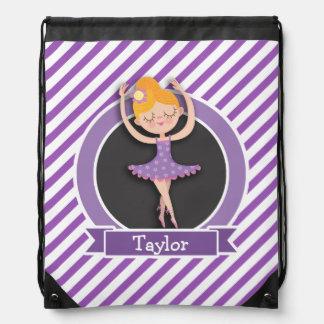 Girl Ballet Dancer; Ballerina; Purple & White Cinch Bag