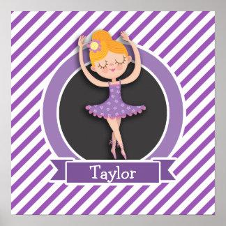 Girl Ballet Dancer; Ballerina; Purple & White Poster