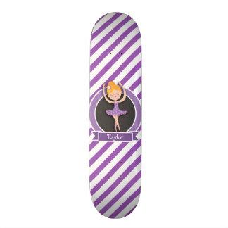 Girl Ballet Dancer; Ballerina; Purple & White Skate Board Decks