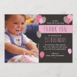 """Girl balloon birthday thank you card<br><div class=""""desc"""">Send your friends and family a wonderful thank you message with these customisable birthday thank you cards. Boy version also available in this style.</div>"""