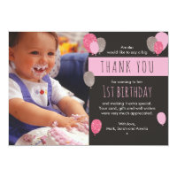 1st birthday thank you cards greeting photo cards zazzle girl balloon birthday thank you card bookmarktalkfo Gallery