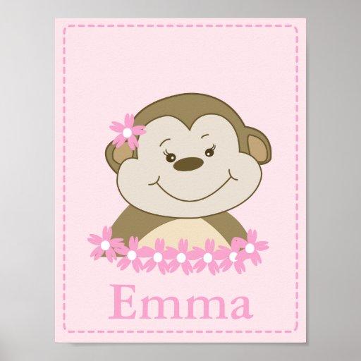 GIRL Bambino Monkey Nursery Room Baby Art Print