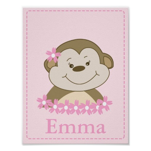 GIRL Bambino Monkey Nursery Room Baby Art Print