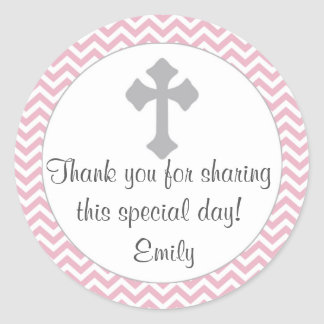 Girl Baptism Christening Favor Label Pink Silver