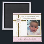 """Girl Baptism/Christening Favor - Photo Magnet<br><div class=""""desc"""">Celebrate your baby/babies Baptism with this beautiful &quot;Photo Magnet Favor&quot;. Customize with the baptismal date and the baby/babies photo. Matching: Baptism/Christening invitation,  return address label,  favor sticker and custom envelope.Matching return address label and custom envelope.</div>"""
