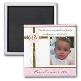 Girl Baptism/Christening Favor - Photo Magnet