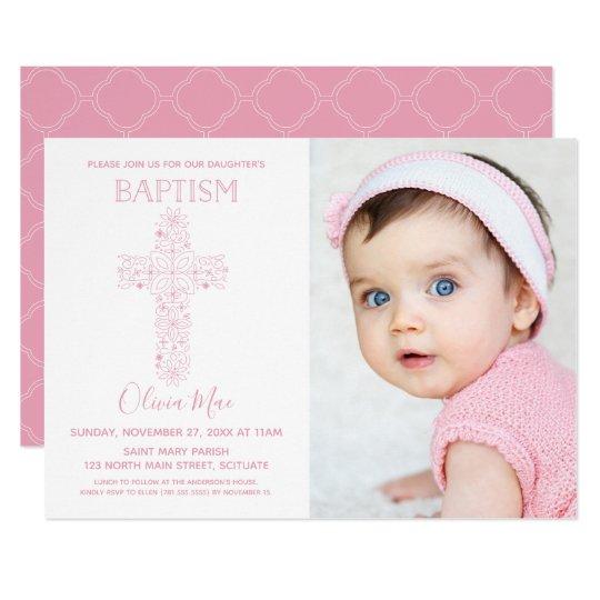 Girl Baptism Christening Invitation With Photo