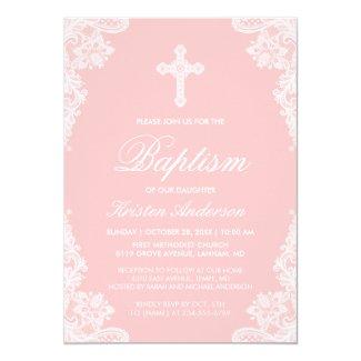Girl Baptism Elegant Blush Pink White Lace Photo Invitation