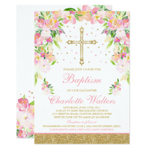 Girl Baptism Invitations Announcements Zazzle