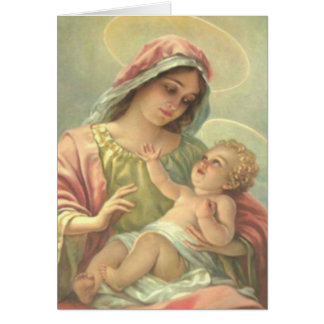 GIRL BAPTISM Virgin Mary with Holy Christ Child - Card