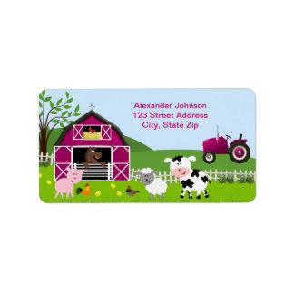 Girl Barnyard Farm Animals Address Label Personalized Address Label