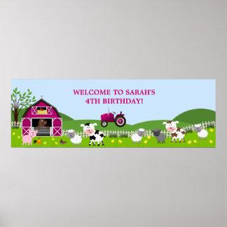 Girl Barnyard Farm Animals Birthday Banner Poster