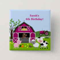 Girl Barnyard Farm Animals Birthday Button