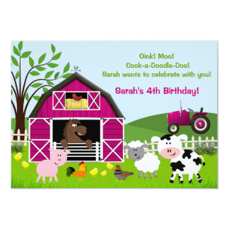 "Girl Barnyard Farm Animals Birthday Invitations 5"" X 7"" Invitation Card"
