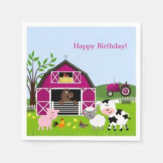 Girl Barnyard Farm Animals Birthday Paper Napkins