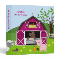 Girl Barnyard Farm Animals Birthday Photo Album Binder