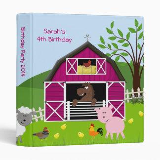 Girl Barnyard Farm Animals Birthday Photo Album 3 Ring Binder