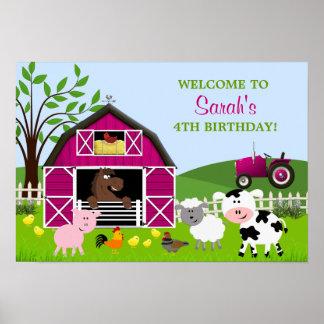 Girl Barnyard Farm Animals Birthday Poster