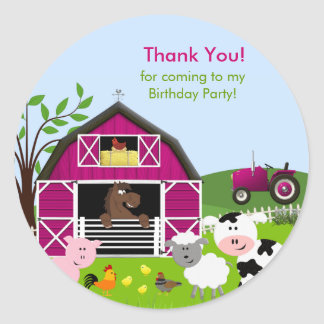 Girl Barnyard Farm Animals Birthday Sticker