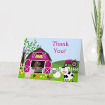 Girl Barnyard Farm Animals Thank You Card