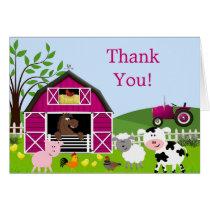 Girl Barnyard Farm Animals Thank You Card