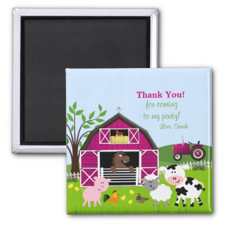 Girl Barnyard Farm Animals Thank You Magnet