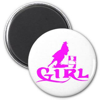 GIRL BARREL RACING 2 INCH ROUND MAGNET