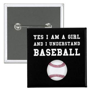 Girl Baseball 2 Inch Square Button
