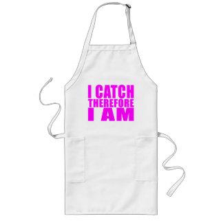 Girl Baseball Catchers : I Catch Therefore I Am Long Apron