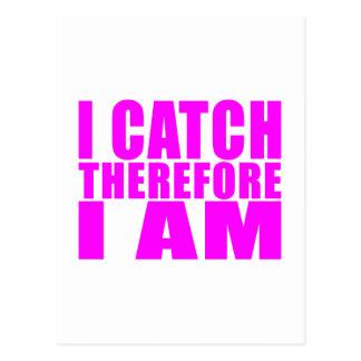Girl Baseball Catchers : I Catch Therefore I Am Postcard