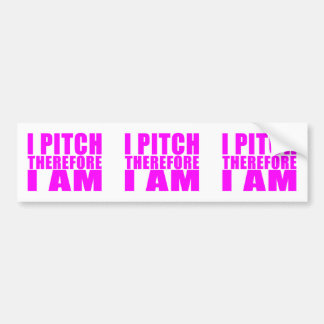 Girl Baseball Pitchers : I Pitch Therefore I Am Bumper Sticker