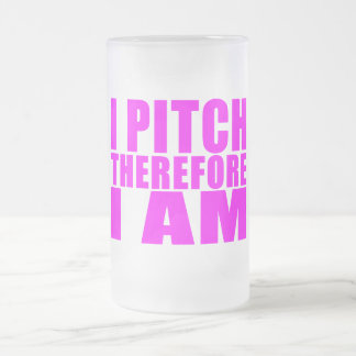 Girl Baseball Pitchers : I Pitch Therefore I Am Frosted Glass Beer Mug