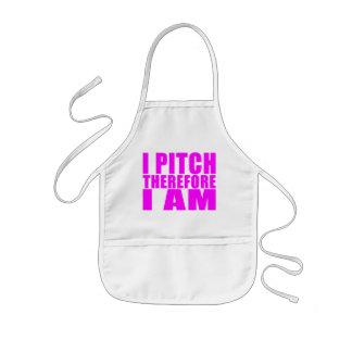 Girl Baseball Pitchers : I Pitch Therefore I Am Kids' Apron