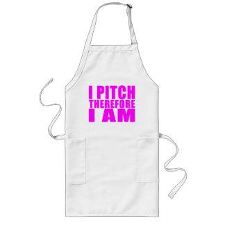 Girl Baseball Pitchers : I Pitch Therefore I Am Long Apron