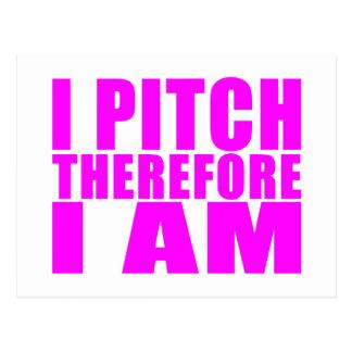 Girl Baseball Pitchers : I Pitch Therefore I Am Postcard