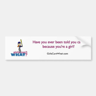 Girl Baseball Player in Blue Car Bumper Sticker