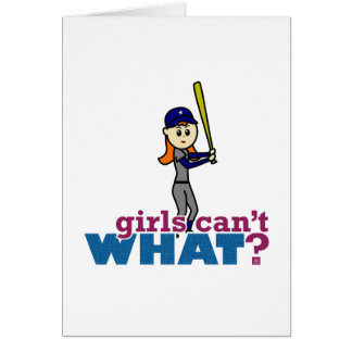 Girl Baseball Player in Blue Greeting Card