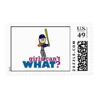 Girl Baseball Player in Blue Postage Stamps