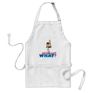 Girl Baseball Player in Red Adult Apron