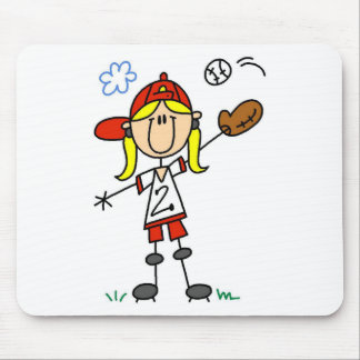 Girl Baseball Player Tshirts and Gifts Mouse Pad