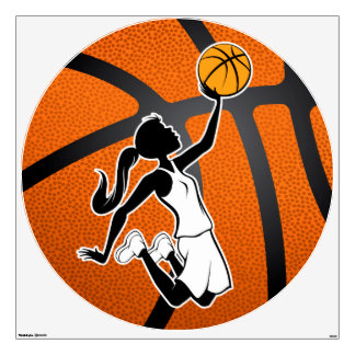 Girl Basketball Player Flying to the Baske Wall Sticker