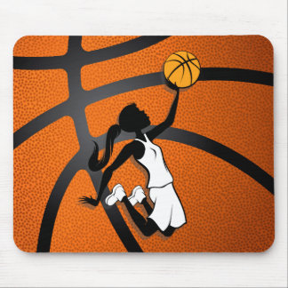 Girl Basketball Player Flying to the Basket Mouse Pad