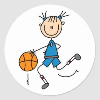 Girl Basketball Player Tshirts and Gifts Classic Round Sticker