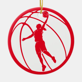 Girl Basketball Silhouette Shooting Ceramic Ornament