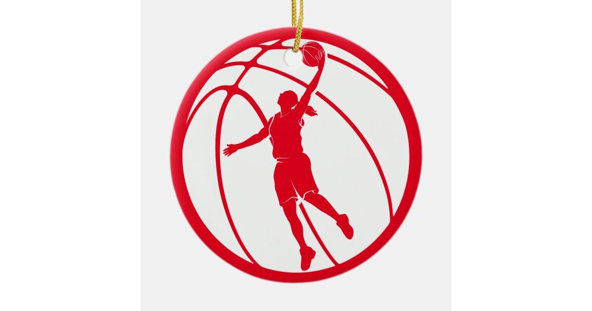 Girl Basketball Silhouette Shooting Ceramic Ornament