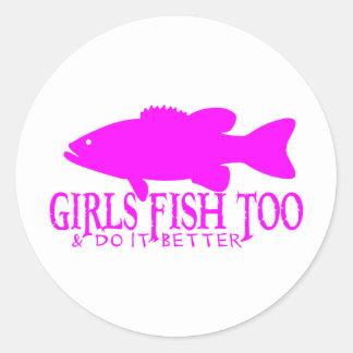 GIRL BASS FISHING CLASSIC ROUND STICKER
